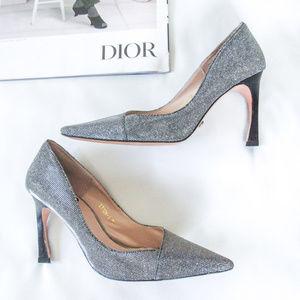 DIOR Silver Metallic Stiletto Heels Leather Pumps